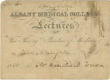 Admission ticket belonging to H. M. Weedon, for a lecture by Dr. James W. Naughton at Albany...
