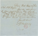 Letter from S. G. Hardaway at Davis' Ford, Virginia, to Major A. B. Ragan in Manassas, Virginia.