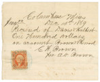 Receipt from Brown and Sherrod in Columbus, Mississippi, for money received from Davis and Halbert.
