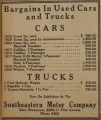 Advertisement for used automobiles from the Southeastern Motor Company in Birmingham, Alabama.