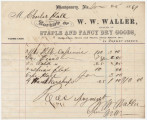 Receipt for clothing bought by Charles Hall from W. W. Waller in Montgomery, Alabama.