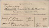 Receipt for Joseph E. Hall in account with Roberts & McMaster, real estate and insurance...