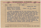Telegram from Governor John Patterson to Mayor Fred Wilson in Monroe, North Carolina.