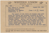 Telegram from Governor John Patterson to Attorney General Robert Kennedy in Washington, D.C.