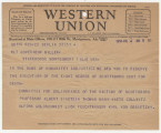 Telegram from the Committee for Deliverance of the Victims of Scottsboro in Berlin, Germany, to...