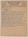 Telegram from American Engineers Specialists Workers in Moscow, Soviet Union, to Governor Miller...