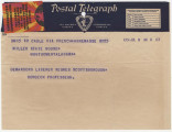 Telegram from Just Songeon in Annemasse, France, to Governor B.M. Miller in Montgomery, Alabama.