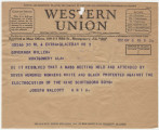 Telegram from the Universal Negro Improvement Association in Glace Bay, Nova Scotia, Canada, to...