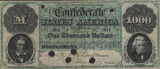 Eleven notes of Confederate currency, five issued by the Confederate Treasury and six by the State...