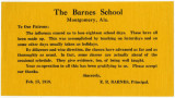 Notice issued to parents of children attending the Barnes School in Montgomery, Alabama, regarding...