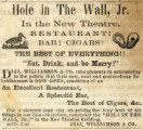Advertisement for the Hole in the Wall, Jr. restaurant in Montgomery, Alabama.