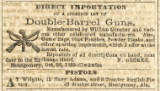 Advertisement for double-barrel guns and pistols sold by merchants in Montgomery, Alabama.