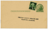 Birth announcement postcard addressed to the Chilton County Health Unit in Clanton, Alabama, to be...