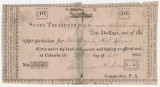 "State treasury note, paying David and Nicholas Crocheron ten dollars for ""Building the State..."