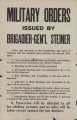 """Military Orders Issued by Brigadier Gen'l Steiner."""