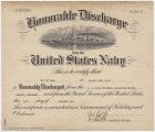 Honorable discharge certificate issued to J. L. Carr, Seaman First Class, at the end of World War...