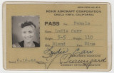 Pass issued to Ludie Carr while she was employed by the Rohr Aircraft Corporation in Chula Vista,...