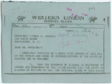 Telegram from Governor George C. Wallace in Montgomery, Alabama, to President Lyndon B. Johnson in...