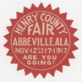 Sticker advertising the Henry County Fair held in Abbeville, Alabama, from November 12 to 17, 1917.