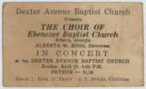 Ticket for a performance of the Ebenezer Baptist Church choir at Dexter Avenue Baptist Church in...