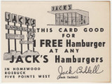 "Coupon for a free hamburger ""at any Jack's Hamburgers in Homewood, Roebuck, Five Points..."
