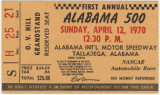 Ticket stub from the First Annual Alabama 500 race held at the Alabama International Motor...