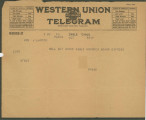 Telegram from Penrose Vass Stout in Paris to his mother, Zemmie Stout Lawton, in Hartsville, South...