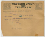 Telegram from Penrose Vass Stout, stationed in France, to his mother, Zemmie Stout Lawton, in...
