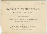 """The Effect of Booker T. Washington's Atlanta Speech, Described in The New York World of..."