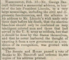 Brief news item about the memorial address delivered by George Bancroft on Abraham Lincoln's...