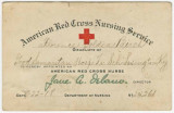 Red Cross identity card issued to Florence Goldia Birch, a nurse stationed at Camp Sheridan,...