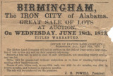 Advertisement for sale of lots in Birmingham, Alabama, to  be held by the Elyton Land Company on...