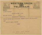 Telegram from Elmer L. Goyette in Hoboken, New Jersey, to his mother, Mary, in Mobile, Alabama.