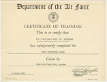 Training certificate given to Bill Wood from the Basic Instructor School at Craig Air Force Base...