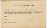 First Presbyterian Church affiliate membership card for soldiers stationed at Camp Sheridan or Taylor Field in...