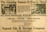 Advertisement from Dothan Eagle for Segrest Gin and Storage Company under owners Martha Carlile...