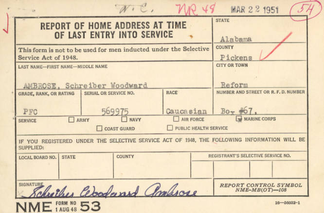 Ambrose Schreiber Woodward Alabama Active Military Service Reports Alabama Department Of Archives And History